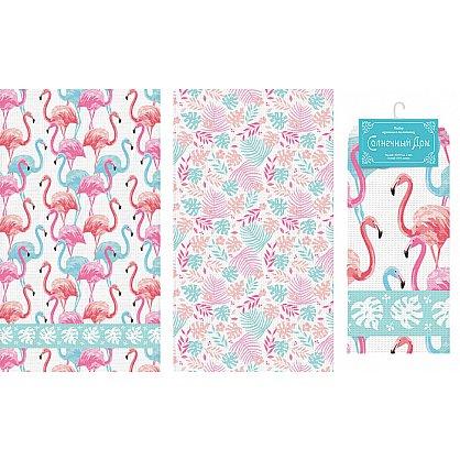 """Набор вафельных полотенец """"Фламинго"""", 40*70 см - 2 шт (nt-102570), фото 1"""