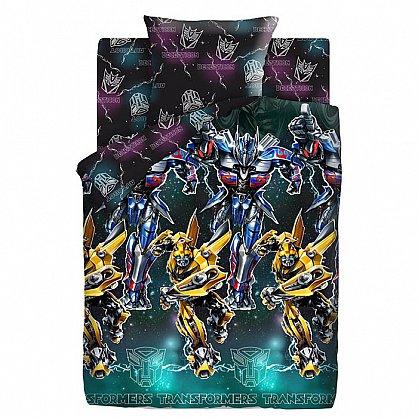КПБ 1,5 поплин 'Transformers' Neon (50*70) рис. 8868+8869 вид 1 Оптимус Прайм и Бамблби (420006), фото 1