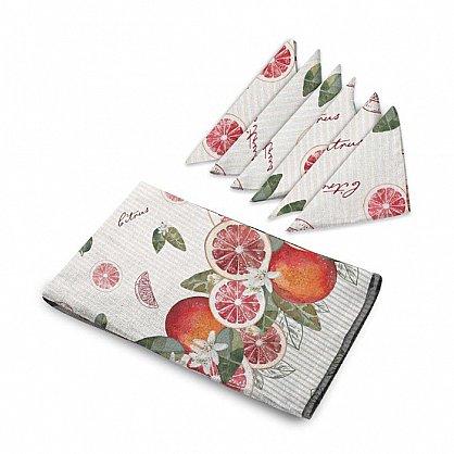 Комплект скатерть рогожка 145*220 + 6 салфеток 32*32 'Романтика' Грейпфрут  (100% х/б) (466305), фото 2