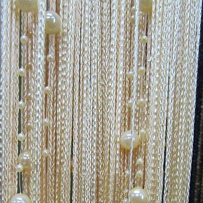 Кисея нитяная штора на кулиске, Жемчужные нити - Шампань (Zhn-13), фото 1