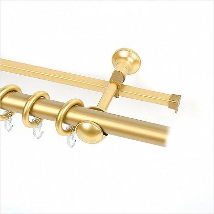 Карниз металлический с элементами из металлизированной пластмассы, 2-рядный, золото матовое, 180 см, ø28 мм (df-100340), фото 1