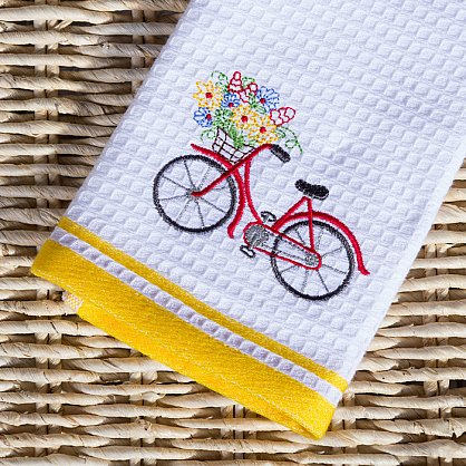 Комплект кухонных полотенец Arya Provense Велосипед (40*60 см), белый, желтый (ar-101439), фото 2