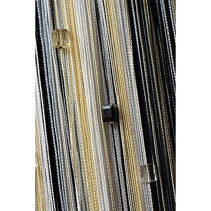 Кисея нитяная штора на кулиске радуга с камнями - Белая/серая/черная (RC-101), фото 1