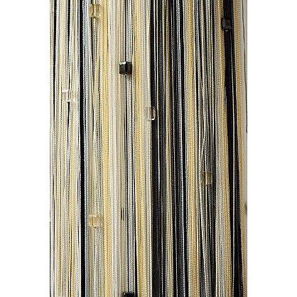 Кисея нитяная штора на кулиске радуга с камнями - Белая/серая/черная (RC-101), фото 2