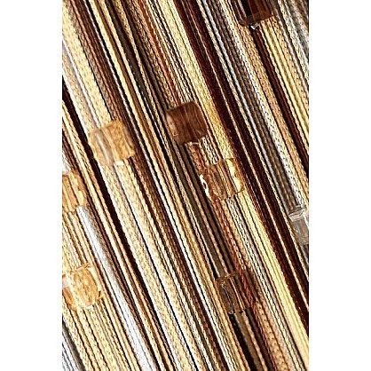 Кисея нитяная штора на кулиске радуга с камнями - Серебро/беж/шампань/коричневая (RC-103), фото 1