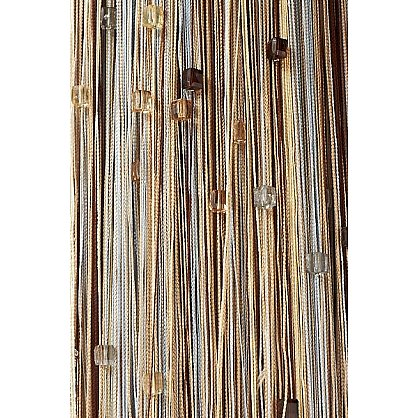 Кисея нитяная штора на кулиске радуга с камнями - Серебро/беж/шампань/коричневая (RC-103), фото 2