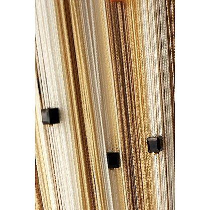 Кисея нитяная штора на кулиске радуга с камнями - Белая/бежевая (RC-123), фото 1