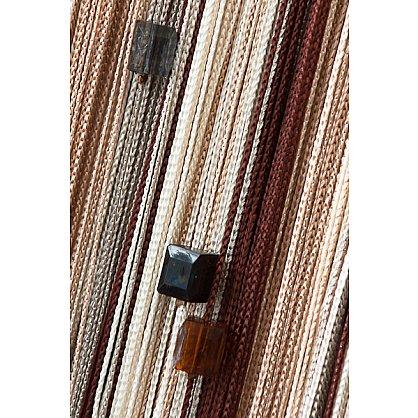 Кисея нитяная штора на кулиске радуга с камнями - Коричневая/бежевая (RC-107), фото 1