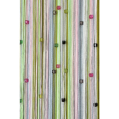 Кисея нитяная штора на кулиске радуга с камнями - Белая/розовая/серая/зеленая (RC-108), фото 2