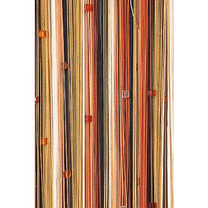 Кисея нитяная штора на кулиске радуга с камнями - Черная/терракот/оранж/молочная (RC-109), фото 2