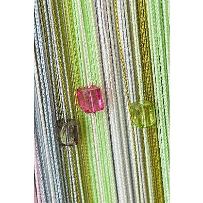 Кисея нитяная штора на кулиске радуга с камнями - Белая/розовая/серая/зеленая (RC-108), фото 1