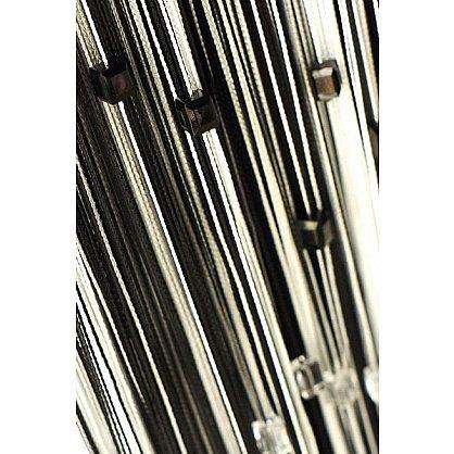 Кисея нитяная штора на кулиске радуга с камнями - Черная/белая (RC-32), фото 1