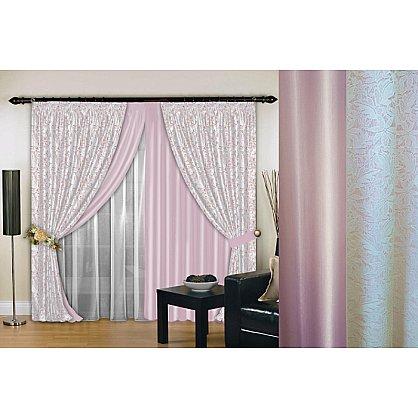 Комплект штор №019, нежно-розовый, белый, 160*260 см (rt-100152), фото 1