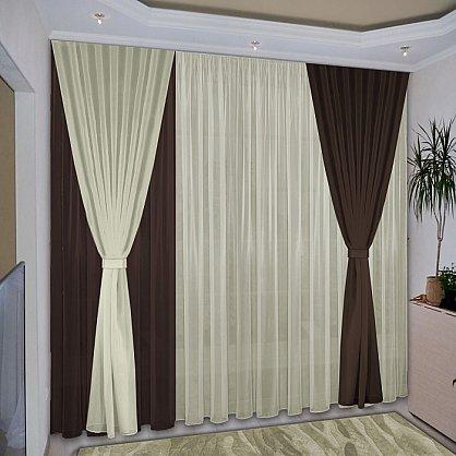 Комплект штор №038 Темно-коричневый, Жемчужный (rt-100034), фото 1