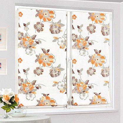 """Римская штора """"Бремен Цветы, Оранжевый"""", ширина 62 см (036-060-63(62)), фото 2"""