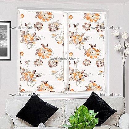 """Римская штора """"Бремен Цветы, Оранжевый"""", ширина 43 см (036-060-44(43)), фото 5"""
