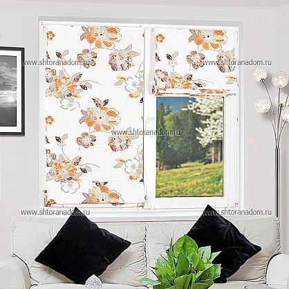 """Римская штора """"Бремен Цветы, Оранжевый"""", ширина 52 см (036-060-53(52)), фото 4"""