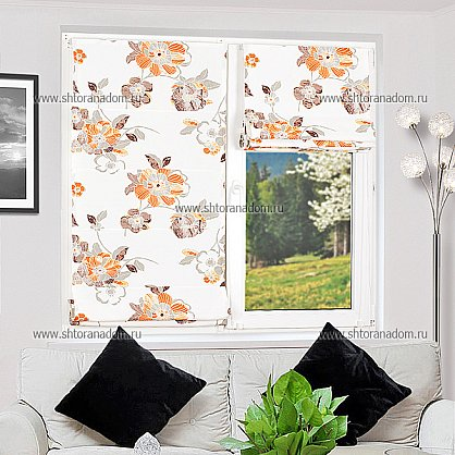 """Римская штора """"Бремен Цветы, Оранжевый"""", ширина 73 см (036-060-74(73)), фото 4"""
