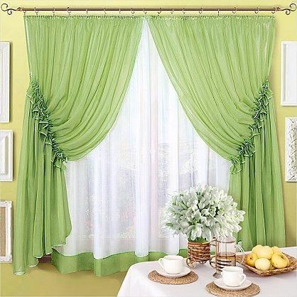 "Шторы  ""Луиза"", зеленый (олива) (LZ-ol), фото 1"