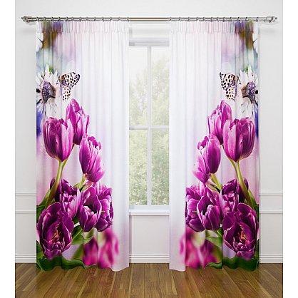 """Фотошторы Стильный дом """"Фиолетовые тюльпаны"""" (s-102174), фото 1"""