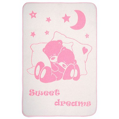"""Одеяло детское """"Сони"""", белый-розовый, 100*140 см (od-sn-belr-100), фото 1"""