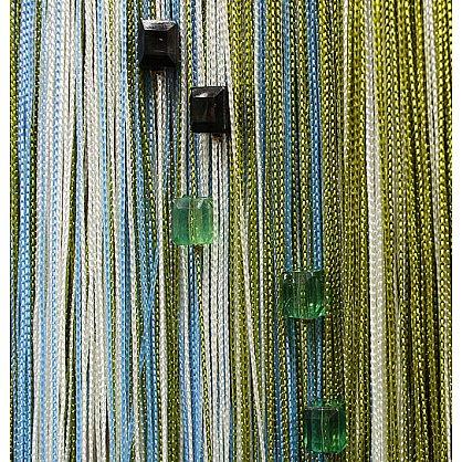 Кисея нитяная штора на кулиске радуга с камнями - Белая/голубая/фисташка (RC-105), фото 1