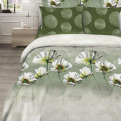 """Комплект постельного белья """"Белые маки"""" 345 (1.5 спальное) (160224), фото 1"""
