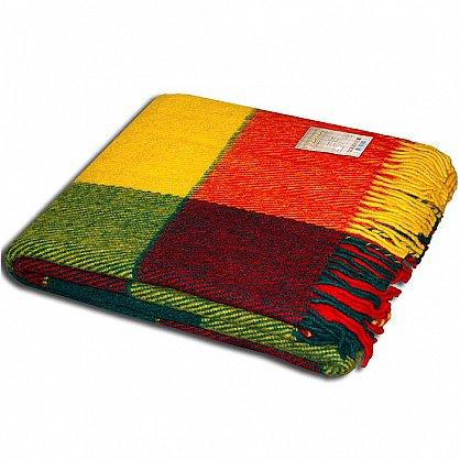 """Плед шерстяной """"Эльф"""", желтый, зеленый, красный-1, 170*210 см (PL-elf-zel-kras-01-170), фото 1"""