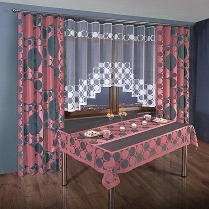 Комплект штор для кухни №3384-02, розовый (zk-3384-02), фото 1