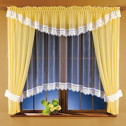Комплект штор для кухни №5746, желтый, белый (zk-5746), фото 1