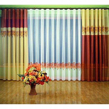 """Комплект штор """"Хризантемы"""", терракотовый, желтый (zk-6454-gr), фото 1"""