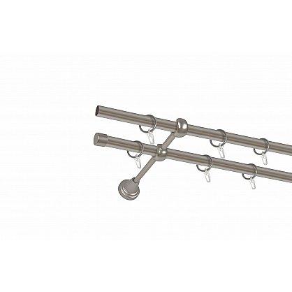 """Карниз металлический 2-рядный """"Тоскана"""" хром матовый, гладкая труба, ø16 мм (kn-22), фото 2"""