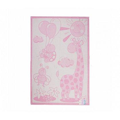 """Одеяло детское """"Жираф"""", белый, розовый, 100*140 см  (od-jr-br-100), фото 1"""