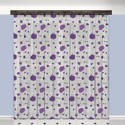 Тюль №777037, белый, фиолетовый (zk-100096), фото 1
