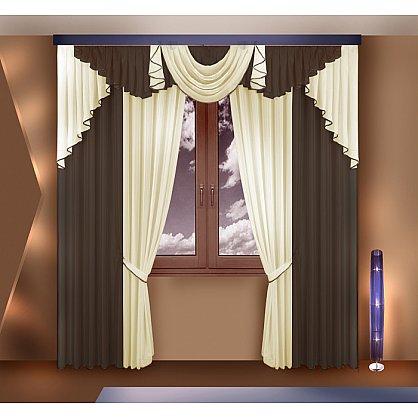 Комплект штор №777061, коричневый, кремовый (zk-100104), фото 1