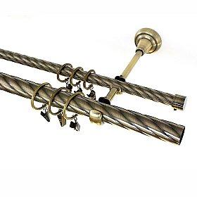 Карниз металлический 2-рядный золото антик, крученая труба, 160 см, ø25 мм