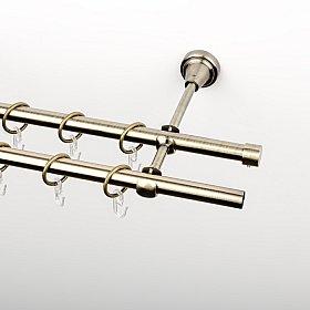 Карниз металлический стыкованный, 2-рядный, золото антик, гладкая труба, 200 см, ø 16 мм