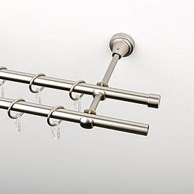 Карниз металлический стыкованный, 2-рядный, хром матовый, гладкая труба, 200 см, ø 16 мм