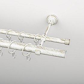 Карниз металлический стыкованный, 2-рядный, белое золото, гладкая труба, 200 см, ø 16 мм, ø 25 мм