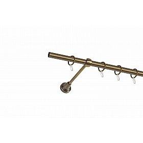 Карниз металлический 1-рядный золото антик, гладкая труба, 160 см, ø16 мм