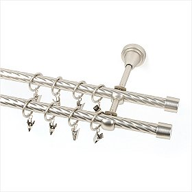 Карниз металлический 2-рядный хром матовый, крученая труба, 160 см, ø16 мм