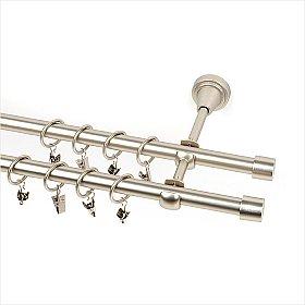 Карниз металлический 2-рядный хром матовый, гладкая труба, 160 см, ø16 мм