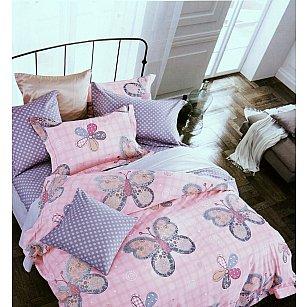 """Комплект постельного белья сатин """"MODALIN DELUX NANA"""" (1.5 спальный), сиреневый, розовый"""