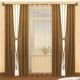 Комплект штор №003 Шоколад-Шампань