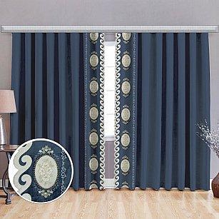 Комплект штор бархат с вышивкой, синий, 125*270 см