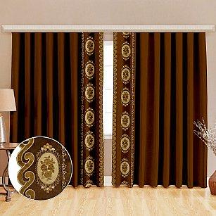 Комплект штор бархат с вышивкой, коричневый, 125*270 см