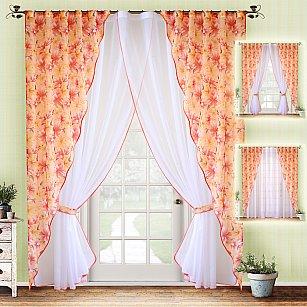 Комплект штор №020 Лилии (оранжевый)