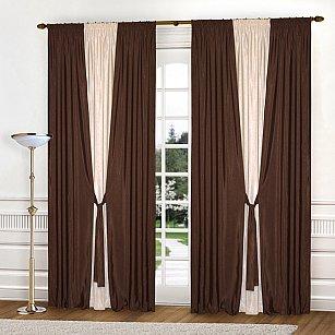 Комплект штор №037 Темно-коричневый/Светло-бежевый