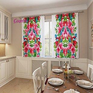 """Фотошторы для кухни """"Букет из цветов и ягод"""""""