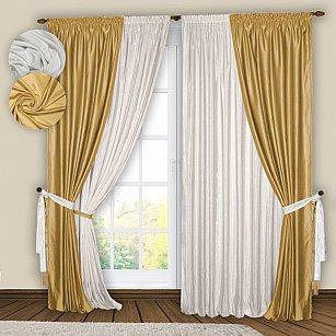 Комплект штор №074 Белый, Золото